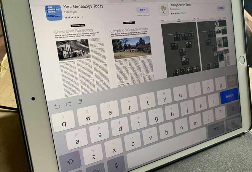 iPad with search being preformed for Free Genealogy Apps
