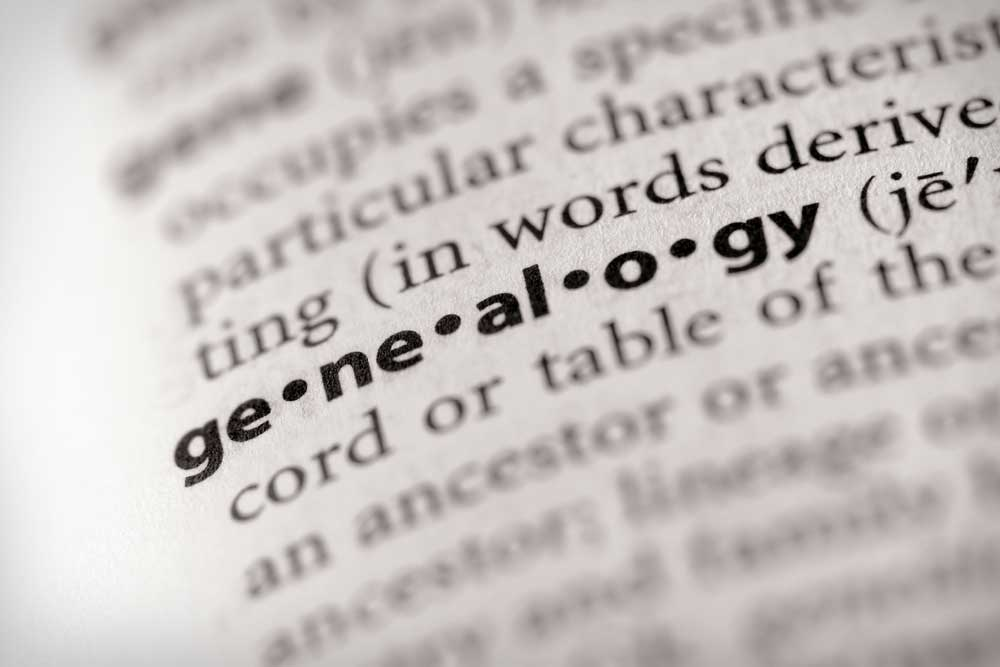 Dictionary page highlighting the definition of Genealogy