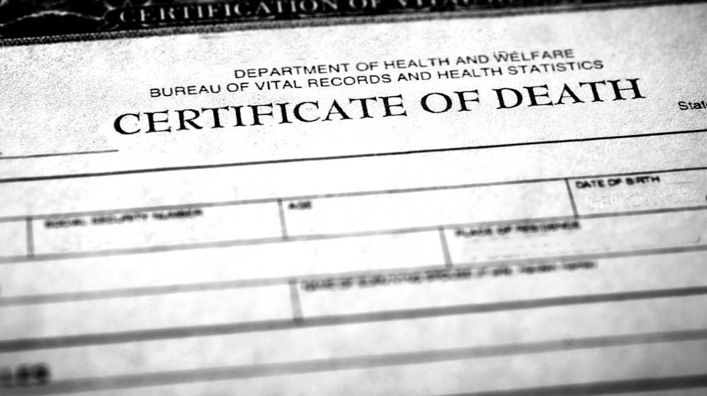 grainy photo of a death certificate