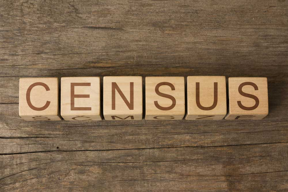 The word census spelled out in block letters on a wooden table
