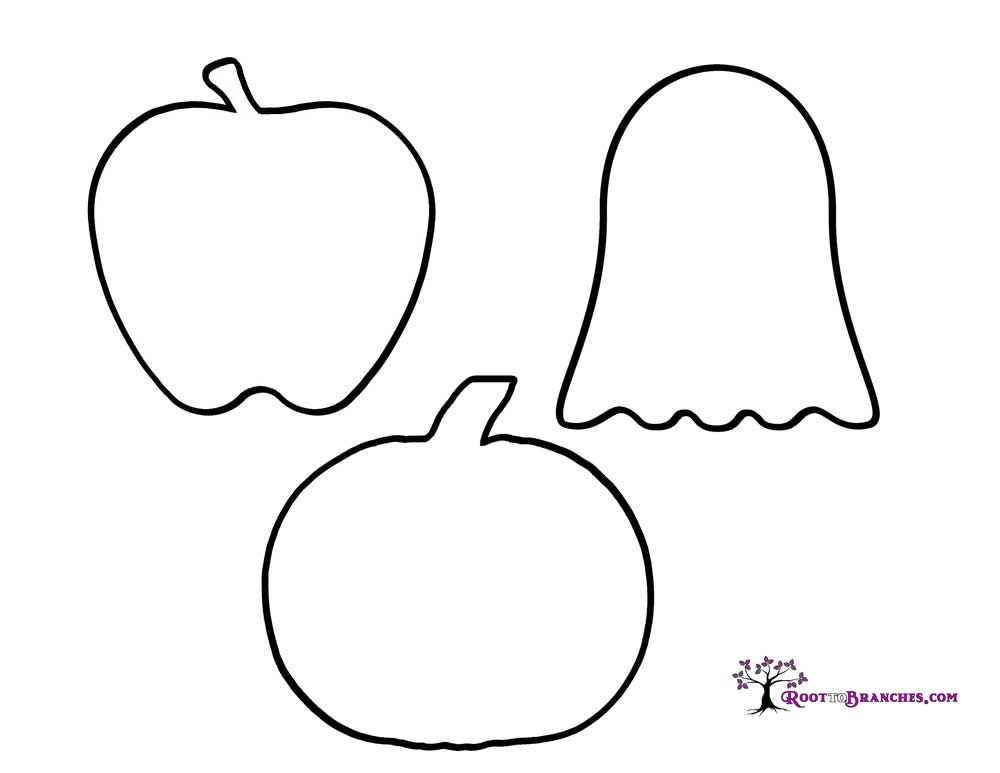 Apple, Ghost and Pumpkin outlines