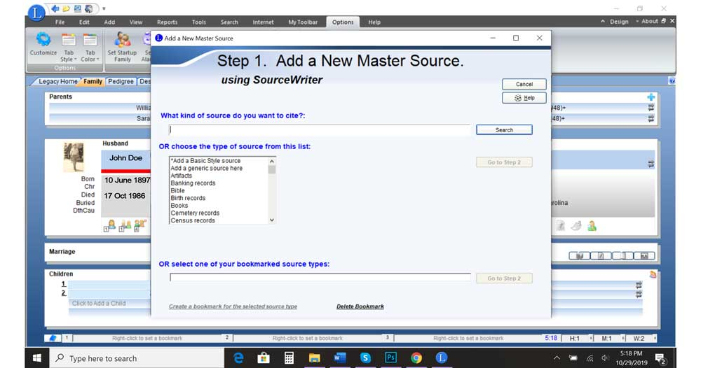 Screen Capture of Legacy 9.0 Add a new master source using source writer pop out box