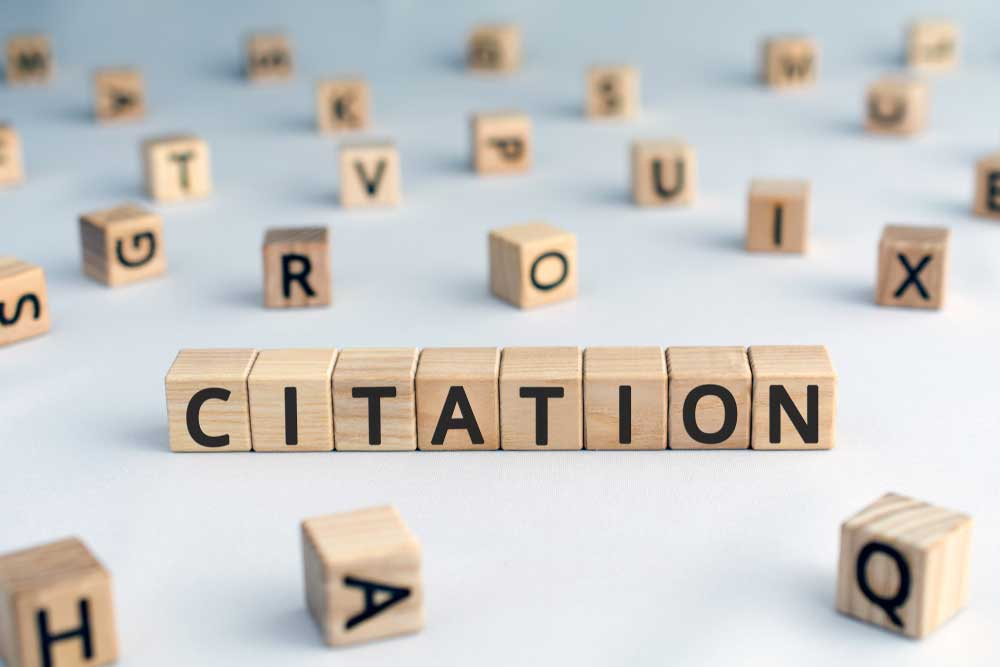 Block letters spelling out the word Citation