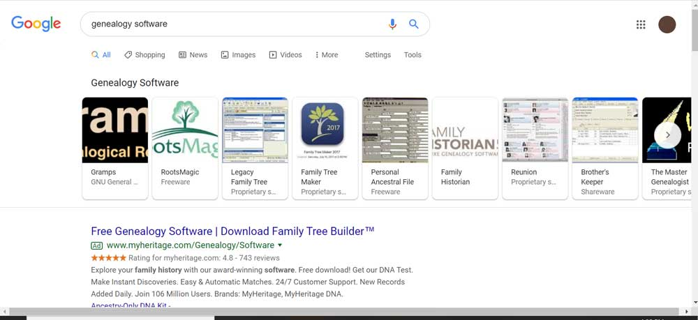 Screen shot of google search for Genealogy Software