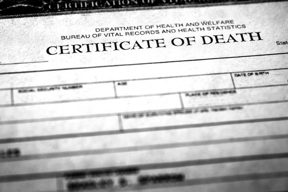 Closeup of header of death certificate