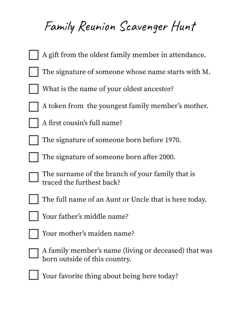 Printable Family Reunion Scavenger Hunt Sheet
