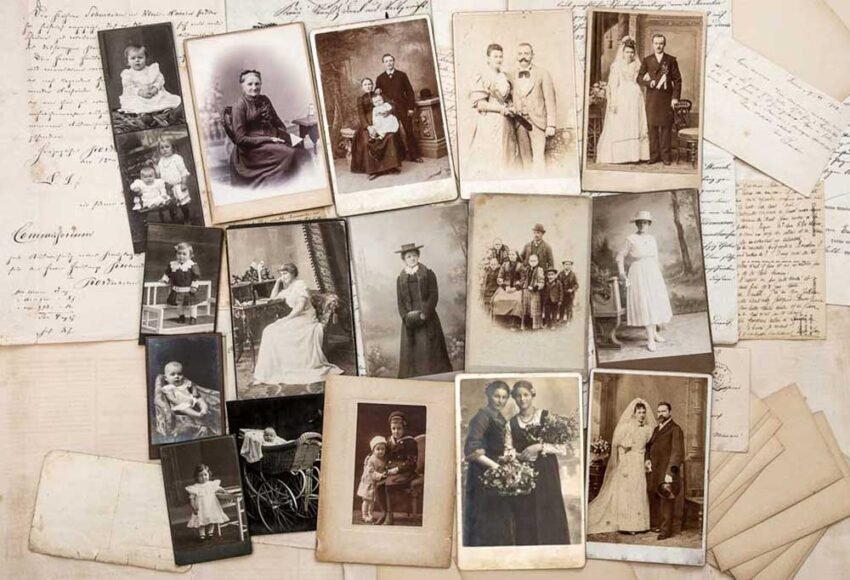 old photos and letters on a white background