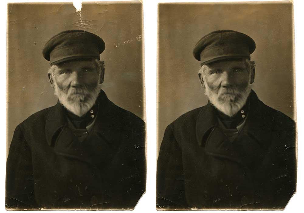 example of photo restoration using photoshop