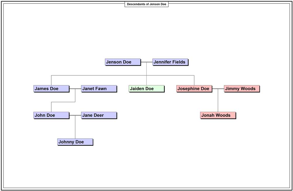 Made up Descendants chart of the Doe family