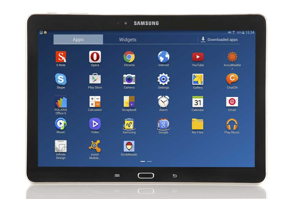 Samsung tablet isolated on a white background showing the home screen with app logos showing.