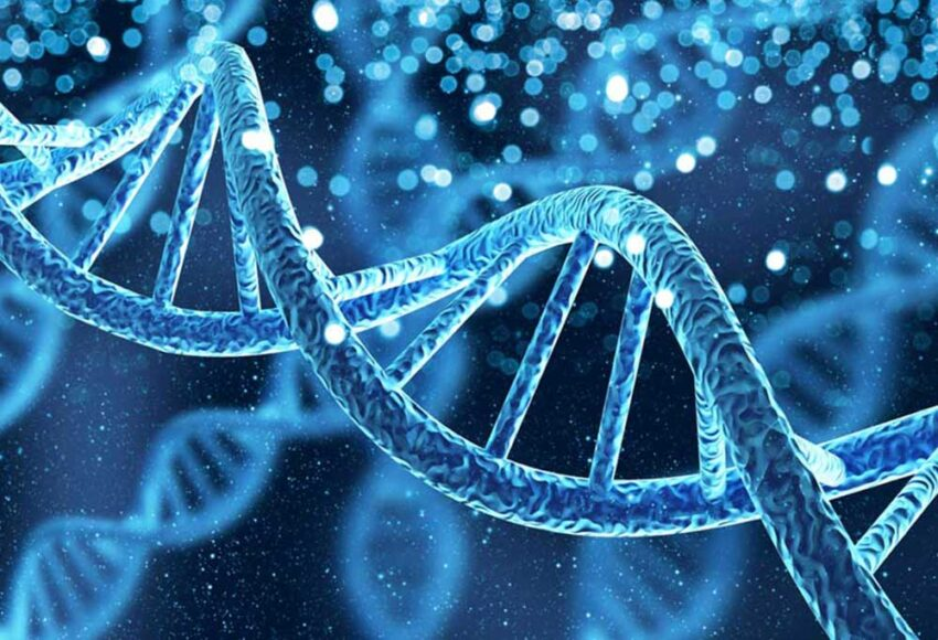 Blue themed DNA Helix image