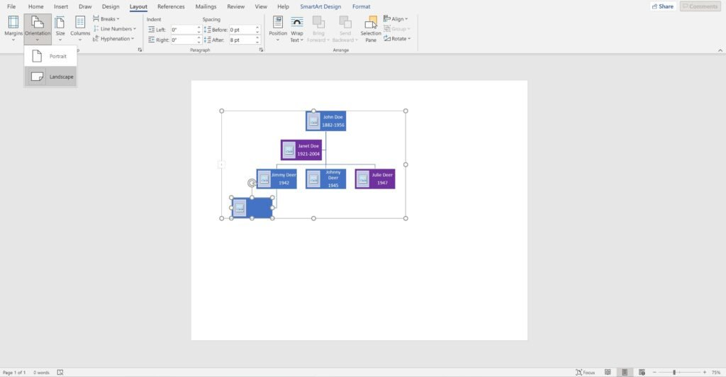 Screenshot of an open word document using a  hierarchy chart as a family tree showing how to change from portrait view to landscape