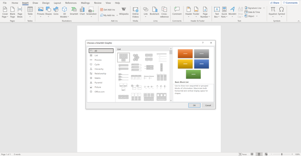 Screen shot of an open word document showing how to insert a smart graphic