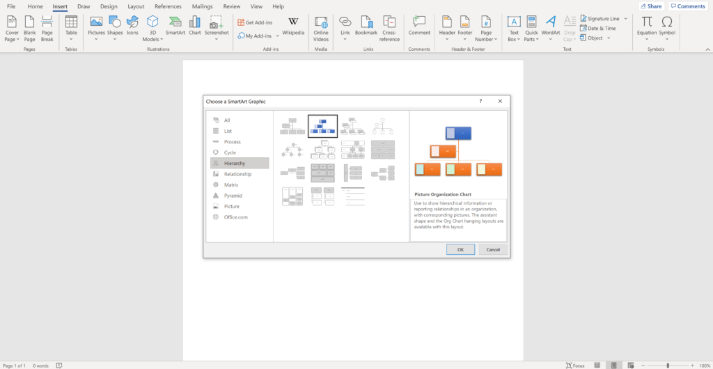Screenshot of an open word document showing how to insert a Hierarchy chart