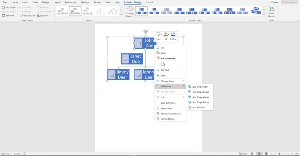 Screenshot of an open word document using a  hierarchy chart as a family tree showing how to add more people